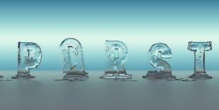 Alphabet made of ice melting Stock Photography
