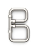 Alphabet made of Metal pipe, letter B. Royalty Free Stock Images