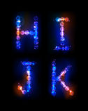 Alphabet made of neon bubbles Royalty Free Stock Photos