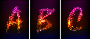 Alphabet made of neon light Stock Image
