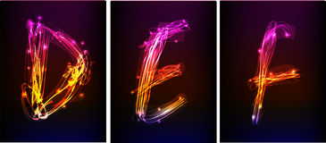Alphabet made of neon light Stock Photo