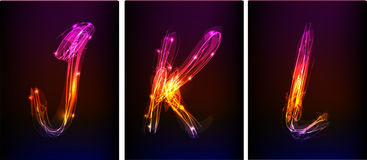 Alphabet made of neon light Royalty Free Stock Photography