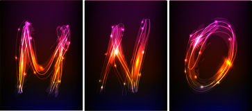 Alphabet made of neon light Stock Images