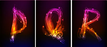 Alphabet made of neon light Stock Photos