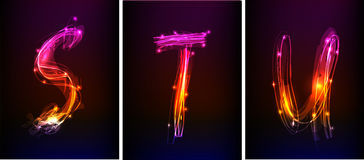 Alphabet made of neon light Royalty Free Stock Images