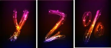 Alphabet made of neon light Stock Image