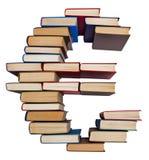 Alphabet made out of books, euro sign. Alphabet made out of old books, euro sign Royalty Free Stock Images