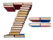 Alphabet made out of books, figures 7 and equals Royalty Free Stock Images