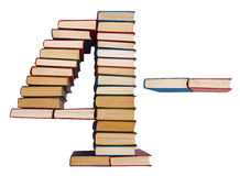 Alphabet made out of books, figures 4 and minus Stock Photo