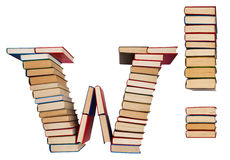 Alphabet made out of books, letter W and exclamation mark Stock Image