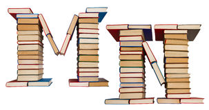 Alphabet made out of books, letters M and N Stock Photo