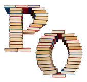 Alphabet made out of books, letters P and O Royalty Free Stock Image