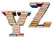 Alphabet made out of books, letters Y and Z Royalty Free Stock Image