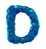 Alphabet made of plastic shards blue color isolated on white background- letter D vector illustration