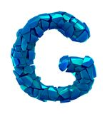 Alphabet made of plastic shards blue color isolated on white background- letter G stock illustration