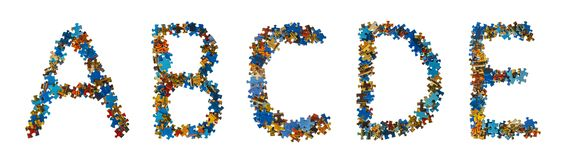 Alphabet made of puzzle pieces - education concept Royalty Free Stock Images