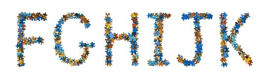 Alphabet made of puzzle pieces - education concept. Isolated on white background vector illustration