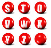 Alphabet made of red 3D spheres. Set three, letters from S to Z Royalty Free Stock Photos