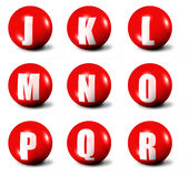 Alphabet made of red 3D spheres. Set two, letters from J to R Royalty Free Stock Images