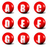 Alphabet made of red 3D spheres. Set one, letters from A to I Royalty Free Stock Photos