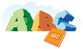 Alphabet made of stone, single word ABC and book. Vector illustration Royalty Free Stock Photos