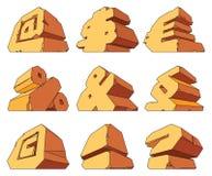 Alphabet made of stone: symbols Royalty Free Stock Images