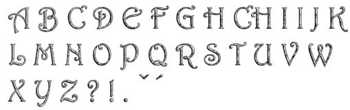 Alphabet made from stone wall Royalty Free Stock Photography