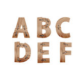 Alphabet made of wood bars connected with metal plates Royalty Free Stock Photography