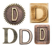 Alphabet. Made of wood and metal. Letter D royalty free stock photo