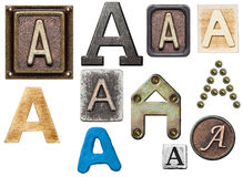 Alphabet. Made of wood, metal, plasticine. Letter A stock photography