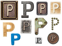 Alphabet. Made of wood, metal, plasticine. Letter P royalty free stock image