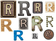 Alphabet. Made of wood, metal, plasticine. Letter R stock photography