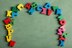 Alphabet made from wooden letters Royalty Free Stock Photography