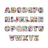 Alphabet majuscule dans le style de Memphis Police géométrique décorative colorée Photographie stock