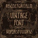 Alphabet majuscule tiré par la main Police manuscrite de vintage dans le style gothique illustration libre de droits