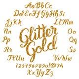 Alphabet manuscrit d'or de scintillement illustration stock