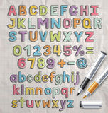 Alphabet marker colorful doodle font style. Royalty Free Stock Images