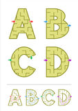 Alphabet maze games A, B, C, D Stock Image