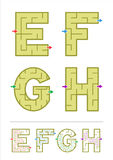 Alphabet maze games E, F, G, H. Simple alphabet maze games - letters E, F, G, H. Answers included Stock Photo