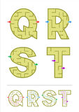 Alphabet maze games Q, R, S, T. Easy alphabet maze games for kids - letters Q, R, S, T. Answers included Stock Photos