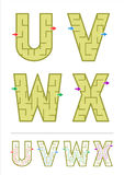 Alphabet maze games U, V, W, X Stock Images