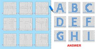 Alphabet maze for kids - A, B, C, D, E, F, G, H, I. Royalty Free Stock Photos