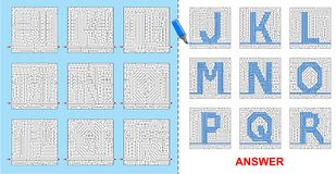 Alphabet maze for kids - J, K, L, M, N, O, P, Q, R. Royalty Free Stock Photography