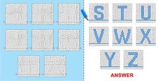 Alphabet maze for kids - S, T, U, V, W, X, Y, Z. Royalty Free Stock Photos