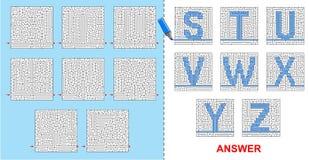 Alphabet maze for kids - S, T, U, V, W, X, Y, Z. Royalty Free Stock Photos