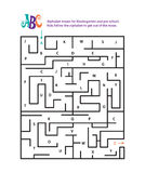 Alphabet mazes for Kindergarten and pre school. Kids follow the alphabet to get out of the maze Royalty Free Stock Photo
