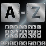 Alphabet. Metal plates with rivets. Stock Photography