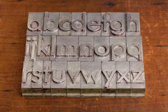 Alphabet in metal printing blocks Royalty Free Stock Image
