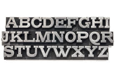 Alphabet in metal type Royalty Free Stock Photos