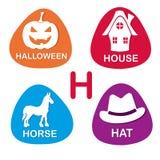 Alphabet mignon dans le vecteur Lettre de H pour Halloween, Chambre, cheval et chapeau illustration de vecteur